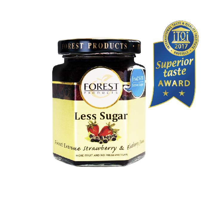 แยมสตรอเบอร์รี่และบลูเบอร์รี่  สูตรน้ำตาลน้อยกว่า